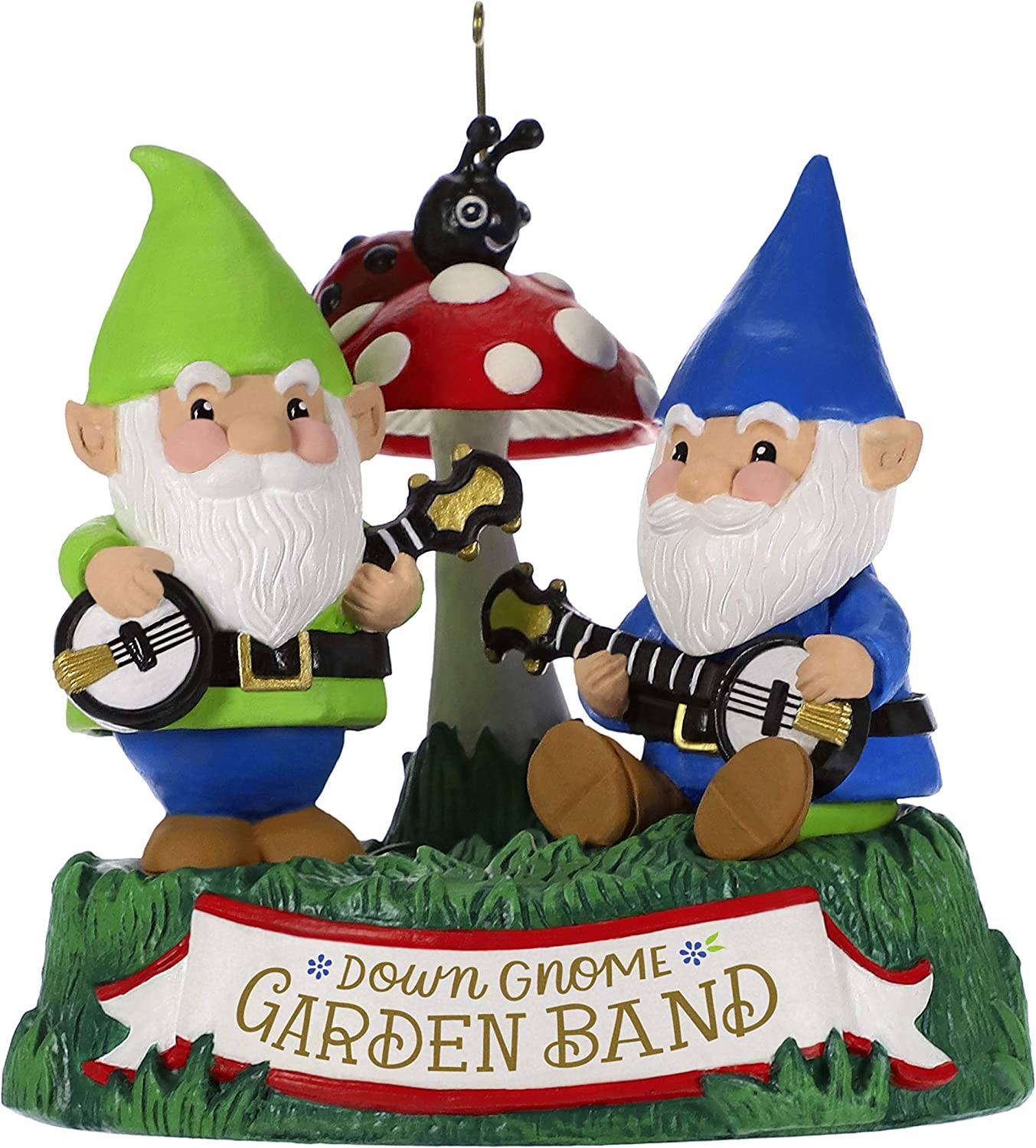 Hallmark Keepsake Christmas Ornament 2019 Year Dated Garden Sound (Plays Duelin' Banjos Song), Dueling Gnomes
