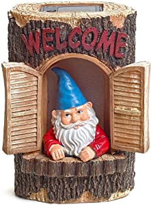 "Gnome ""Welcome"" Garden House Outdoor Decor Stump with Solar Lights by Bo Toys"