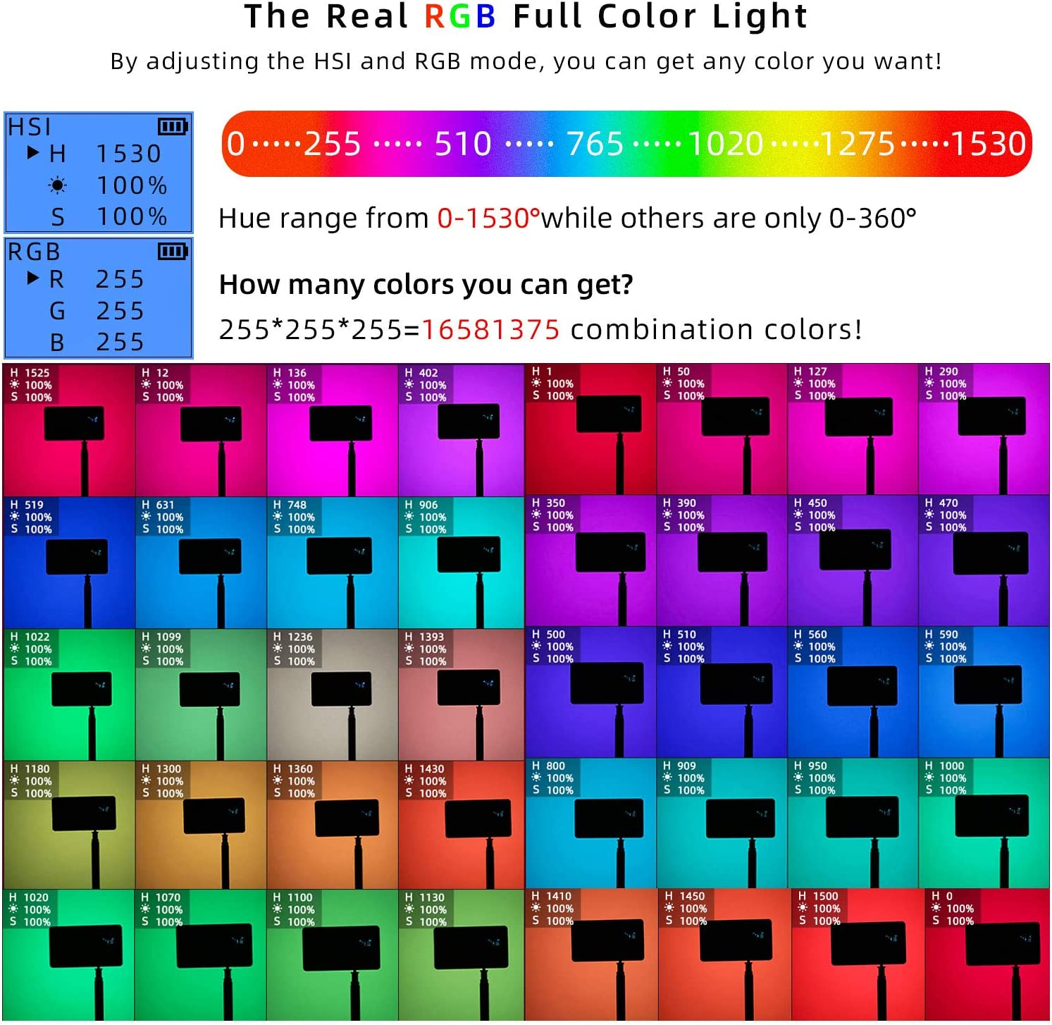 RGB Video Light Led Panel Portable Mini Built-in 7.4V 3300mAh Rechargeable Battery Light 1530/°Full Color 2500-8500K with Aerometal Alloy Shell for Camera Photography Youtube Studio Filming Recording