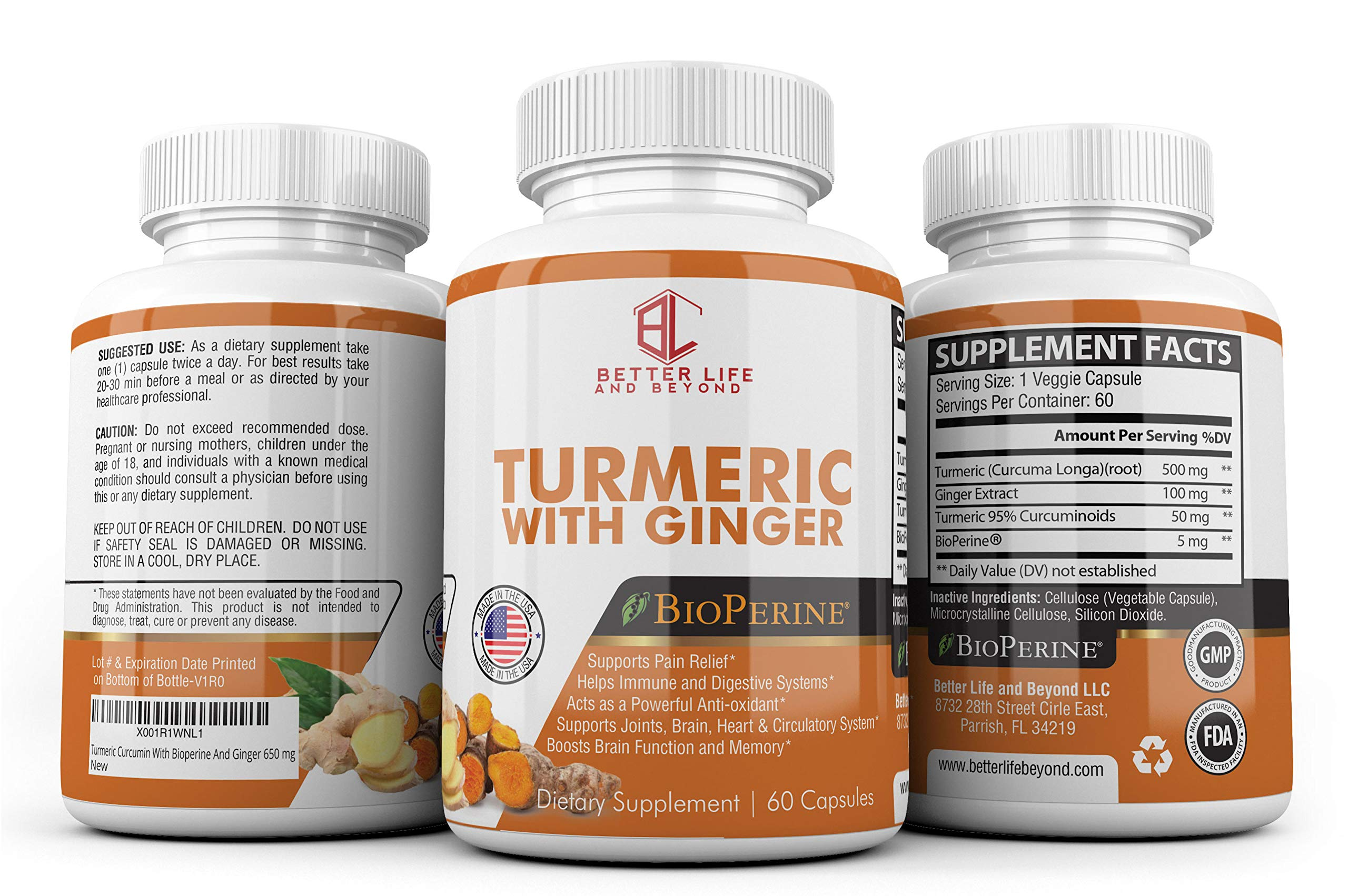 Better Life & Beyond Natural Turmeric Curcumin with Bioperine and Ginger 650mg Anti-oxidant, Reduces Stress, Heart, Joint & Digestive Support. Safe & Effective Dietary Supplement.