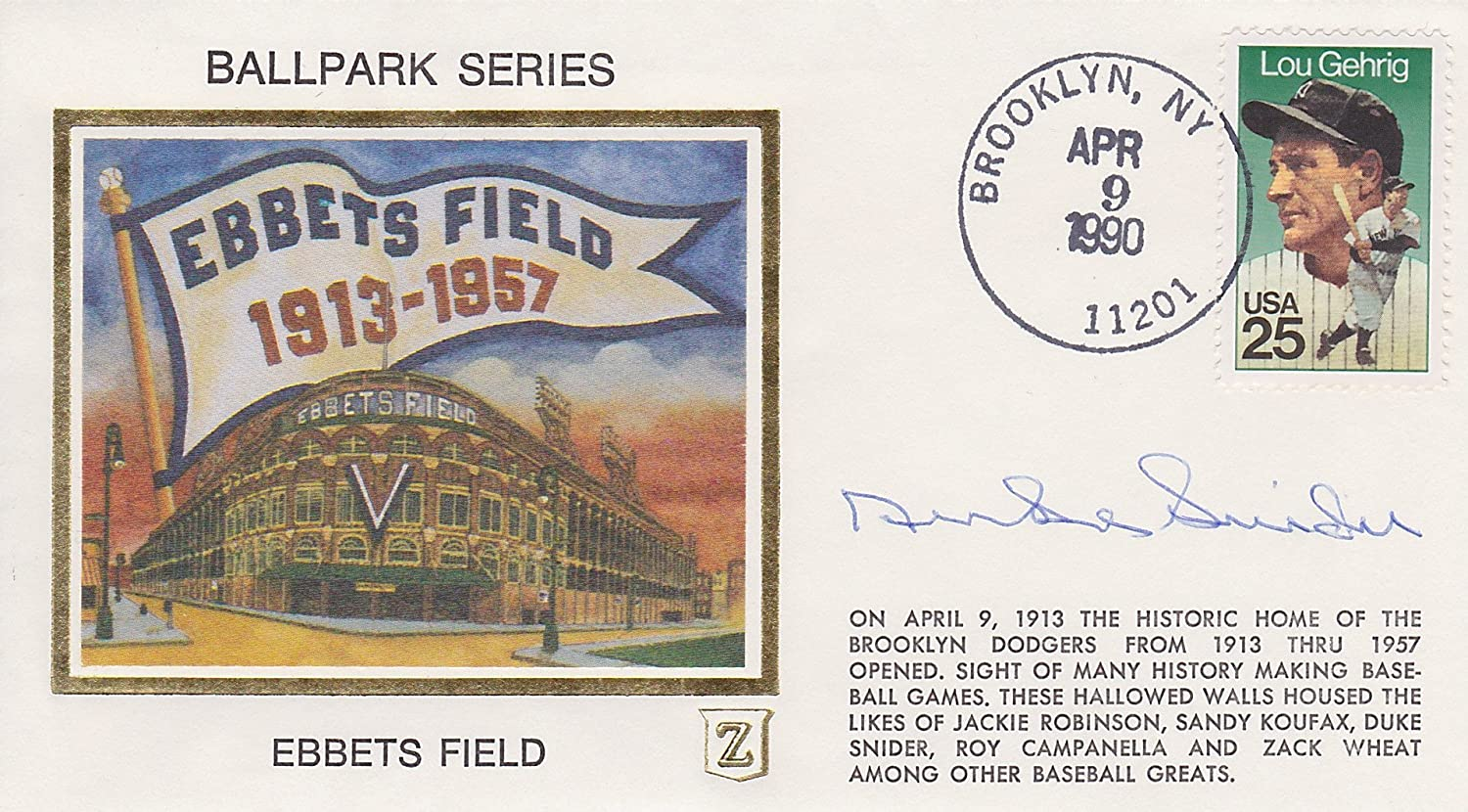 duke snider signed ebbets field ballpark series brooklyn dodgers duke snider signed ebbets field ballpark series brooklyn dodgers postmark cover at s sports collectibles store
