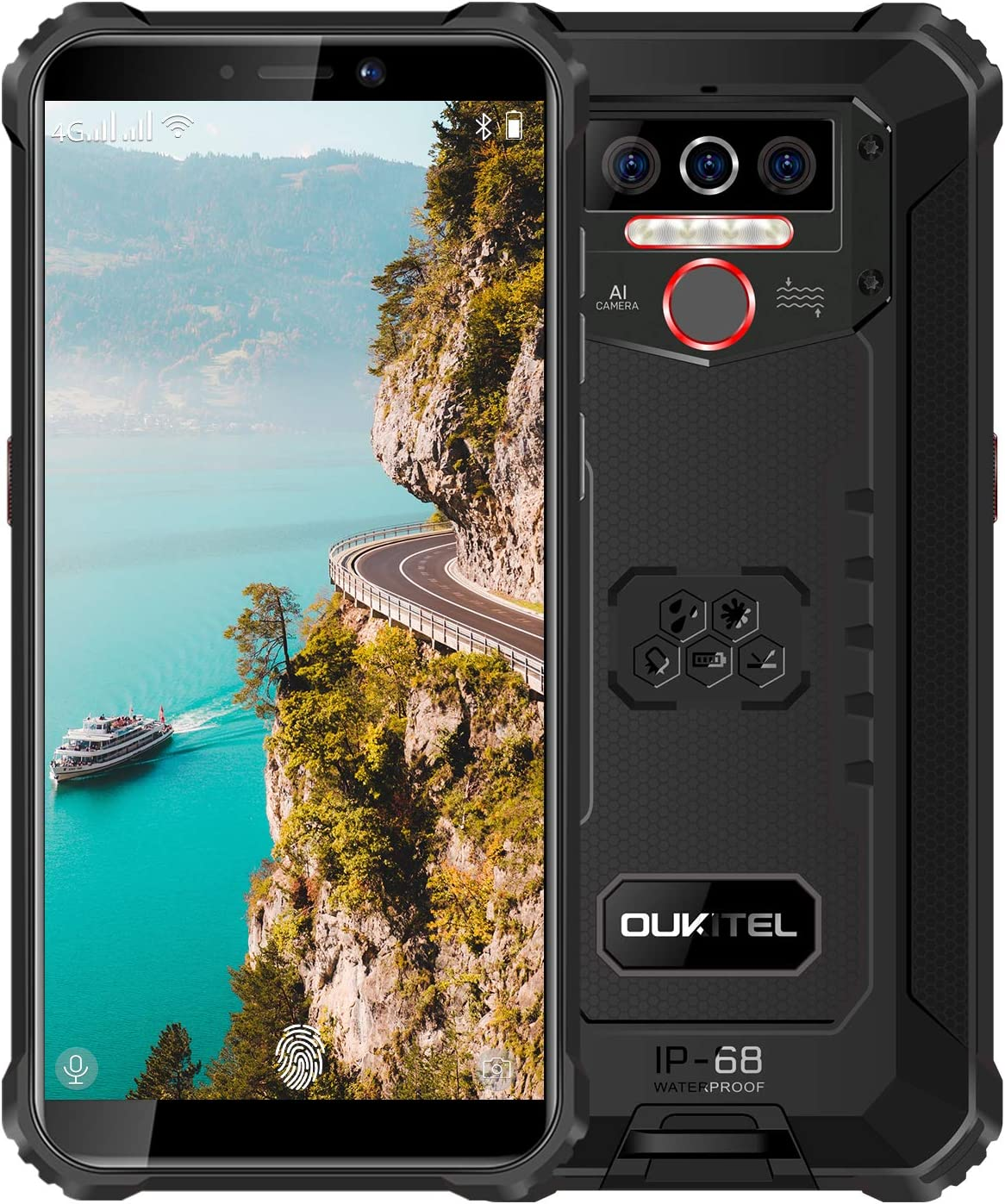 """Rugged Phone Unlocked OUKITEL WP5(2020) Android 10.0 Cell Phones 8000mAh Battery IP68 Waterproof Mobile Phone 4GB+32GB Dual SIM 5.5"""" HD+ Face ID Fingerprint Global 4G LTE GSM AT&T T-Mobile(Black)"""