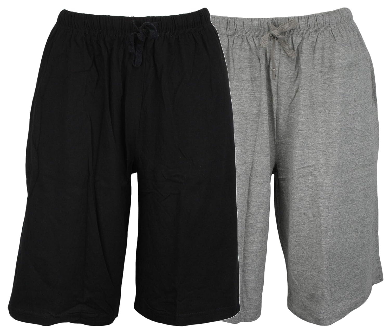 Atano Twin Pack Cotton Jersey Lounge Shorts Grey Black Large
