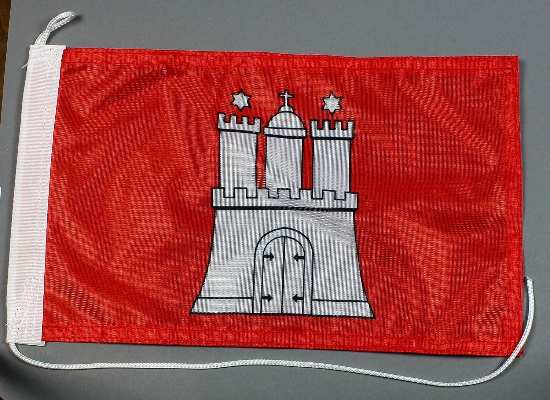 Buddel-Bini Bootsflagge Hamburg 20 x 30 cm in Profiqualit/ät Flagge Motorradflagge