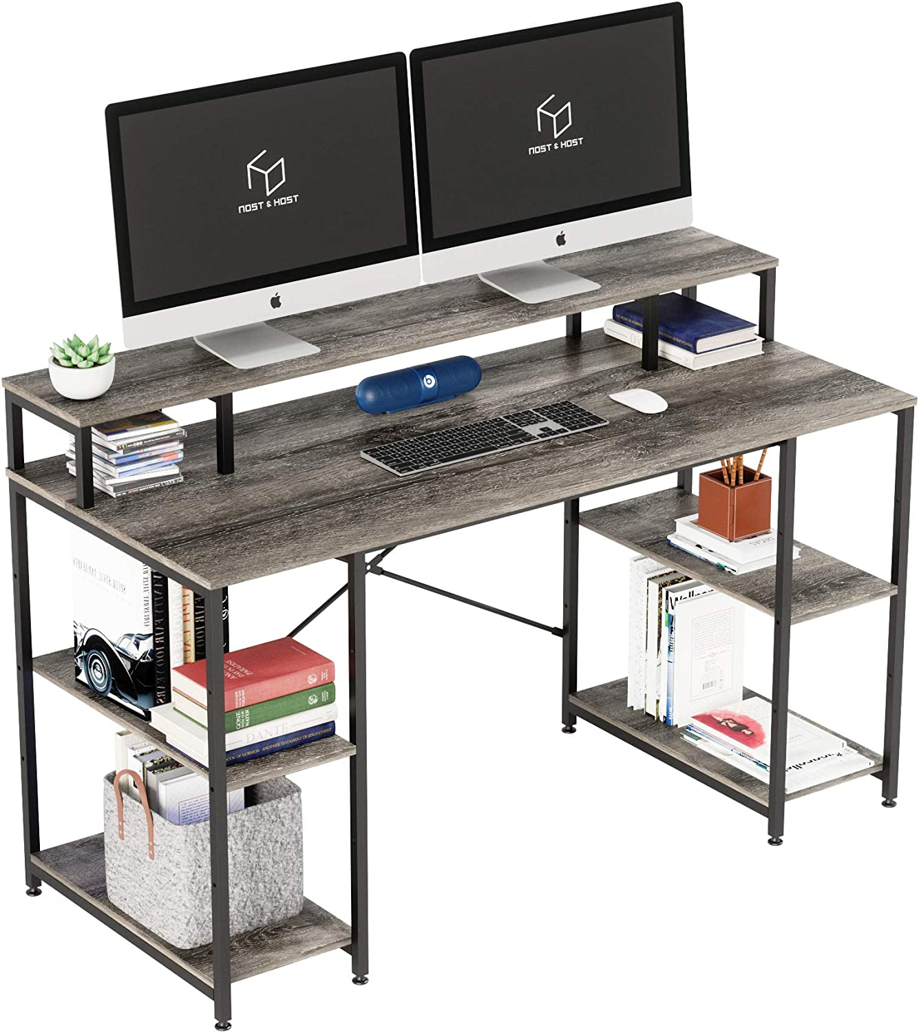 Nost & Host Computer Desk with Monitor Shelf & Adjustable Storage Shelves, 55 Inches Dual Monitor Desk with Hutch, Ergonomic Gaming Table, Home Office Sturdy Table, Easy Assemble, Gray