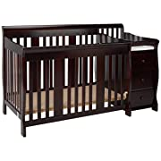 Storkcraft Portofino 4-in-1 Fixed Side Convertible Crib and Changer, Espresso, Easily Converts to Toddler Bed Day Bed or Full Bed, Three Position Adjustable Height Mattress (Mattress Not Included)