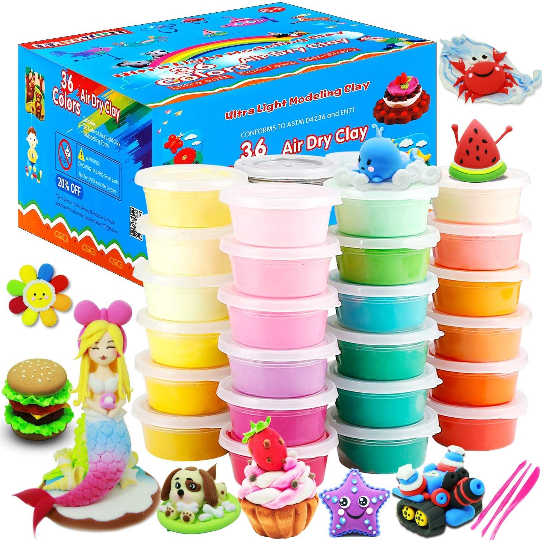 ESAND Arcilla seca al aire, 36 colores de arcilla de modelado el mejor regalo para niños, arcilla mágica ultra ligera con herramientas de modelado y proyecto, no pegajosa y no tóxica