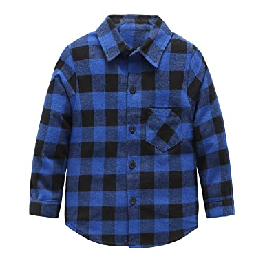 5c9fb594 Grandwish Boys Long Sleeve Check Shirts for Girls 2-12 Years: Amazon ...