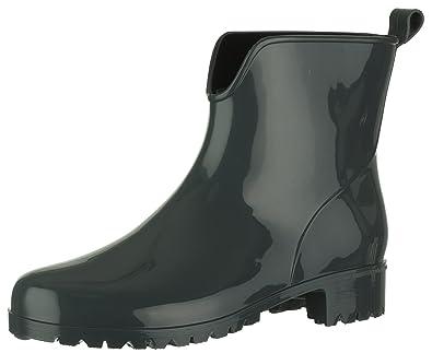 7e1e064996b0b5 Brandsseller Damen Kurzschaft Gummi Stiefelette Chelsea Boots Gummistiefel  Blockabsatz Profilsohle Made in Italy Farbe  Grau