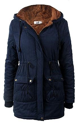 Amazon.com: 4How Womens Parka Jacket Faux Fur Winter Coat Black ...