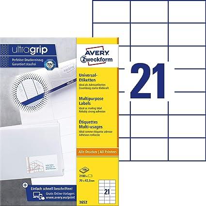 Avery Zweckform 3652 Adressaufkleber Mit Ultragrip 70 X 423 Mm Auf Din A4 Papier Matt Bedruckbare Selbstklebende Adressetiketten 2100