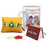 TIED RIBBONS Rakshabandhan Gifts for Brother Combo (Designer Rakhi, Printed Coffee Mug, Mini Gita, Rakshabandhan Special Card, Roli Chawal)