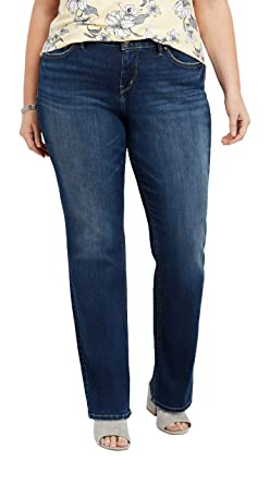 0183f051eca Amazon.com  Silver Jeans Co. Women s Plus Size Avery Curvy Fit High Rise  Slim Bootcut Jeans  Clothing