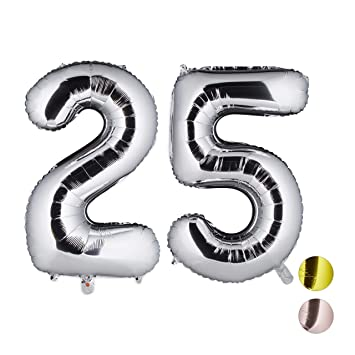 Relaxdays Globos de Cumpleaños Número 25, Aluminio, Plateado, 85 x 50 x 17 cm