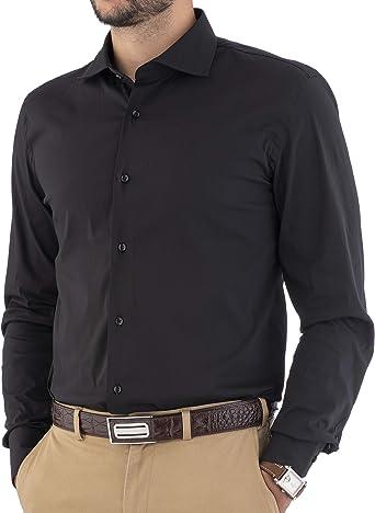 Cashmere Zone - Camisas para hombre, 100% algodón, fabricadas en Italia, cuello francés, ajustadas y cómodas, ajustadas, manga larga, color liso Negro ...