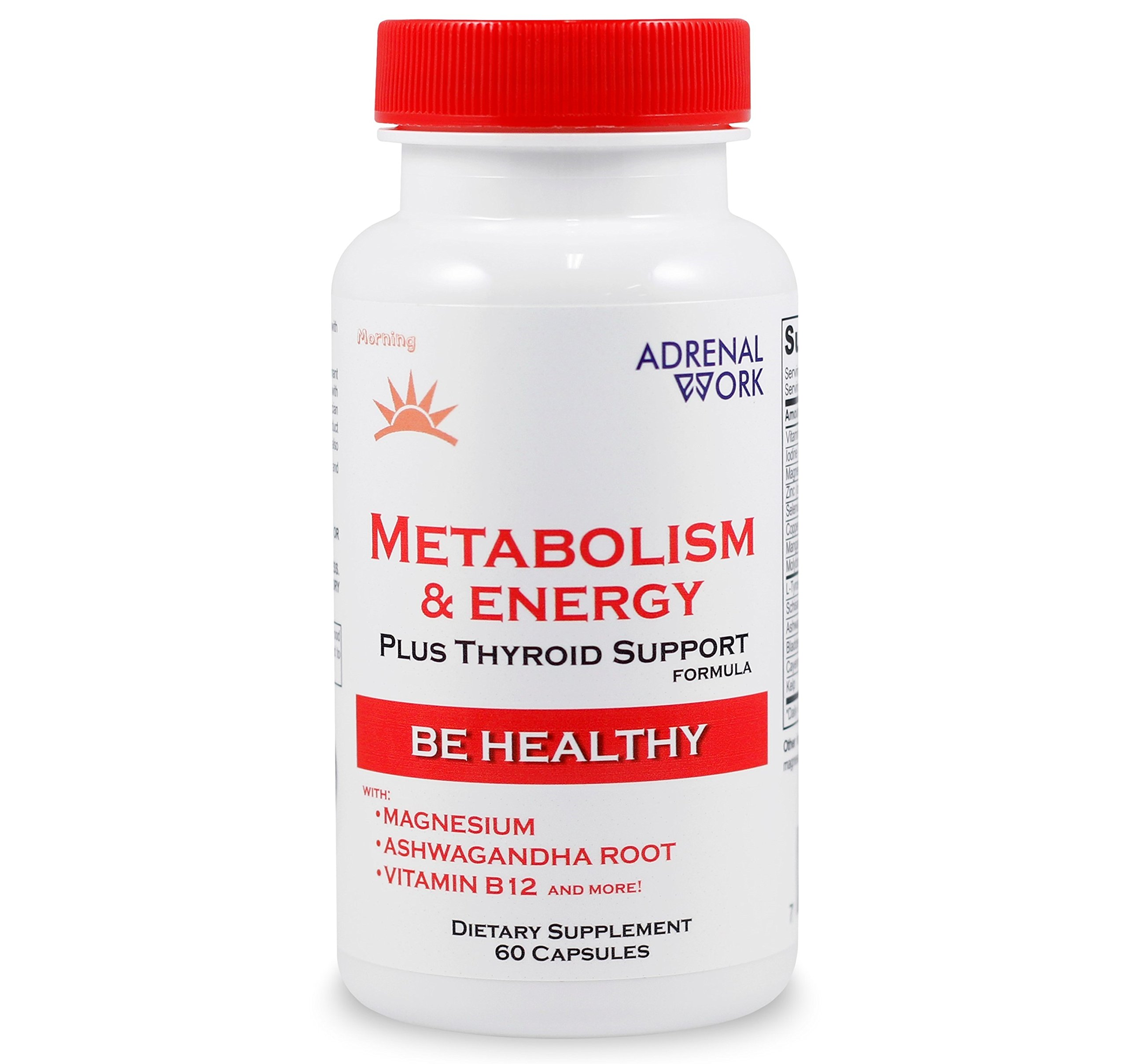 Natural Energy & Metabolism Booster Pills: Metabolism Boosting Formula for Weight Loss, Adrenal Support and Organic Thyroid Supplement for Men & Women, with Magnesium and ashwagandha - 60 Capsules by Adrenalwork