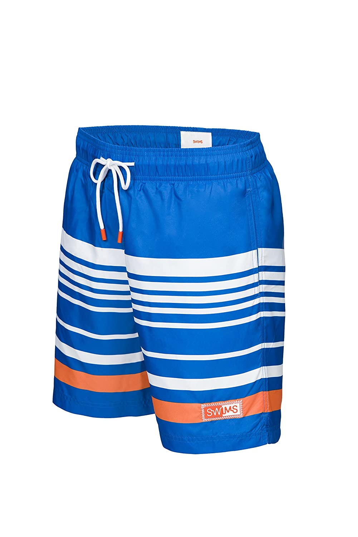 abe63bc6e4 SWIMS Lucea Logo Men's Board Shorts Super-Light, Quick Drying Trunks In  Blitz Blue - Size M   Amazon.com