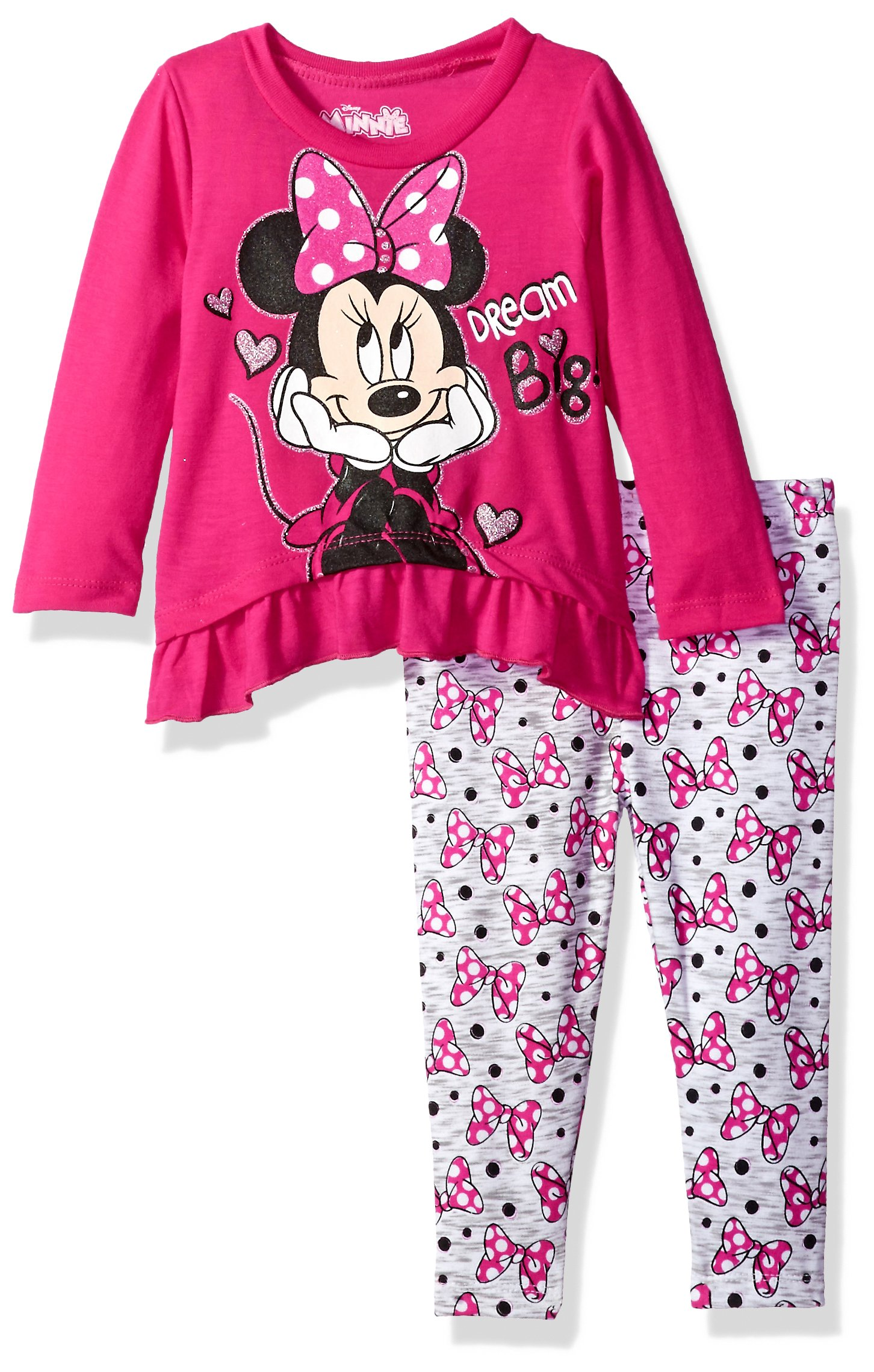 Disney Girls' Minnie Mouse 2-Piece Ruffle Top and Legging Set, Hot Pink/Pink, 18M