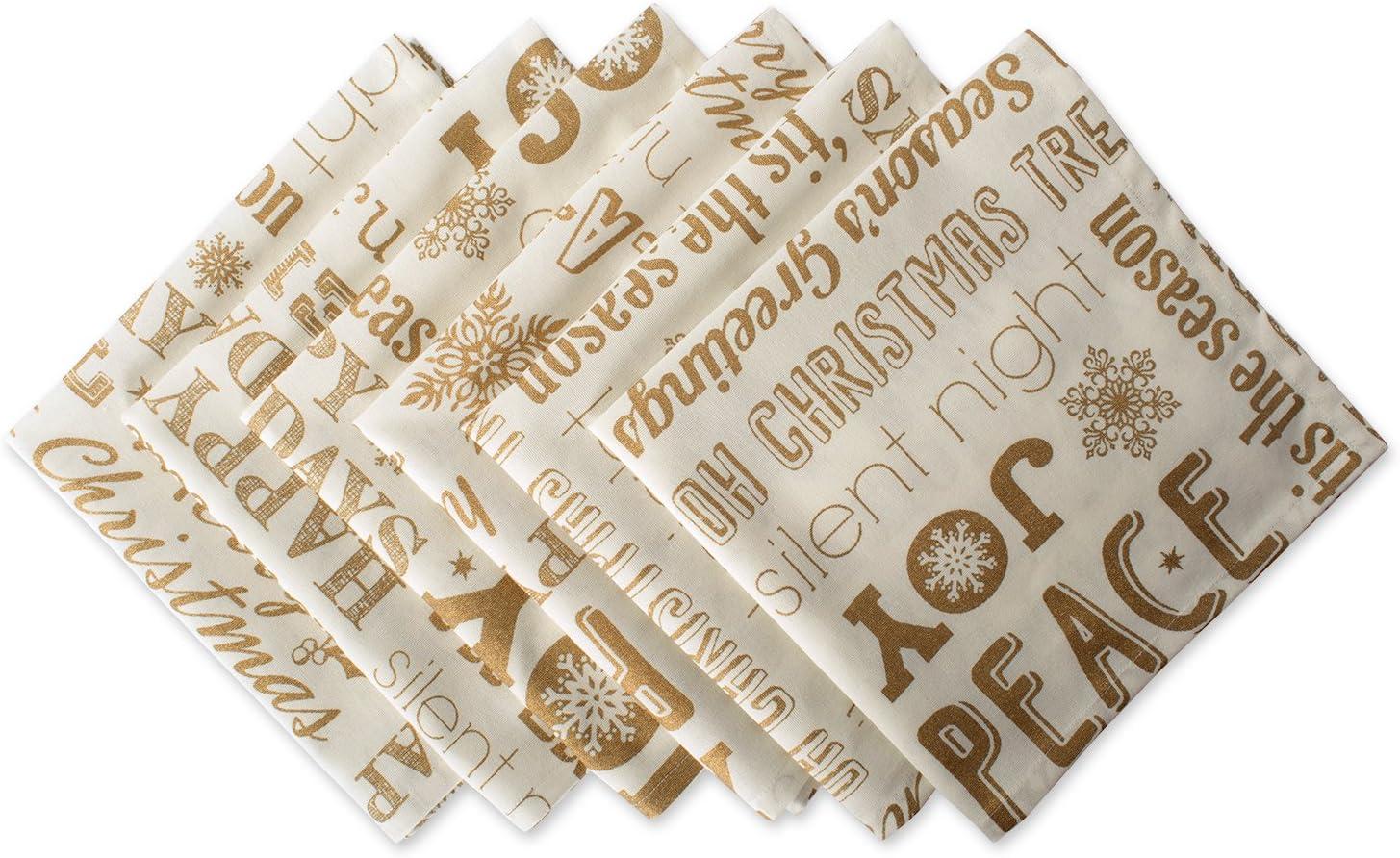 DII 100  Cotton  Machine Washable  Printed Metallic 20x20 Napkin Set of 6  Gold Christmas Collage
