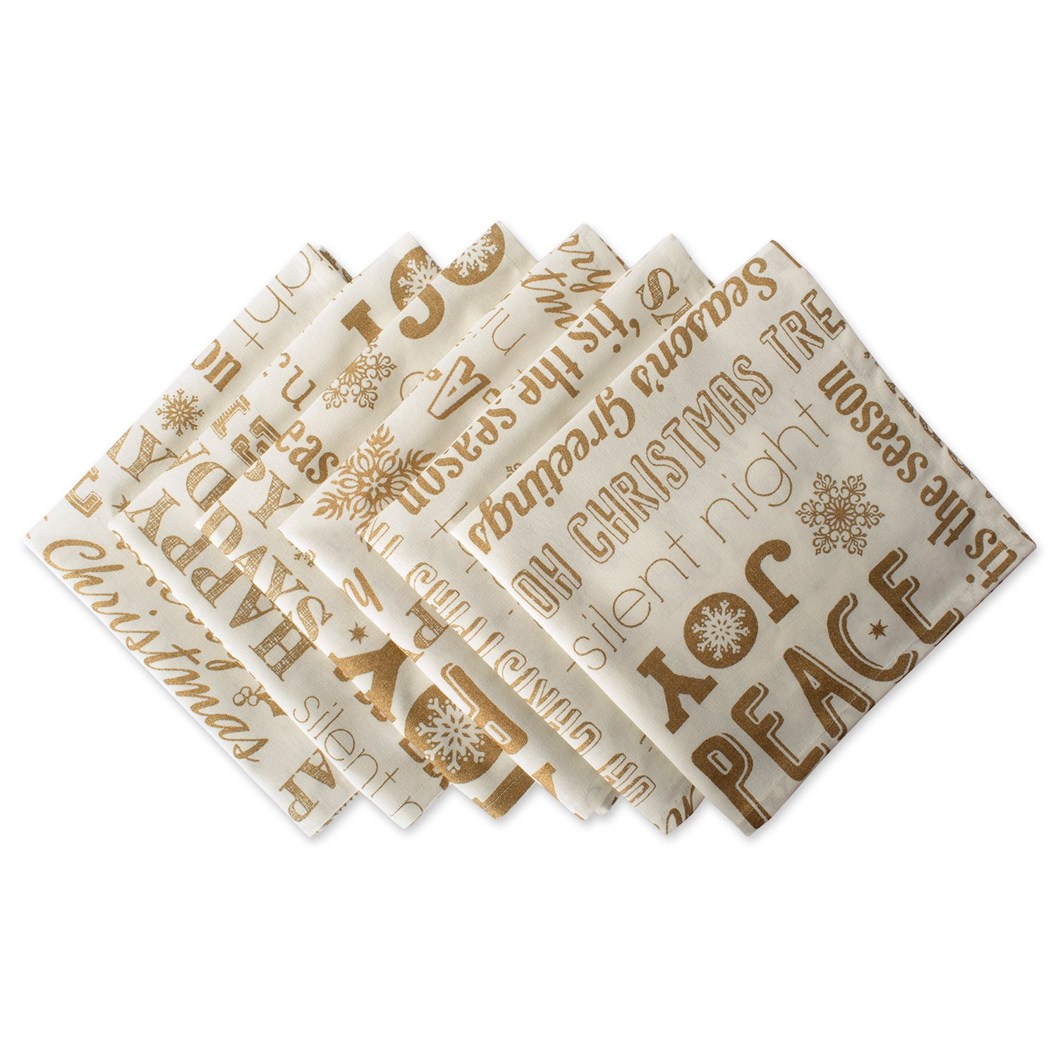 Gold Metallic Christmas Word Collage Napkins