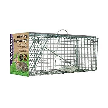 Defenders Animal Trap Cage - (Trampa humana fácil de instalar para conejos, gatos y fauna silvestre de tamaño similar, apta para uso en interiores y ...