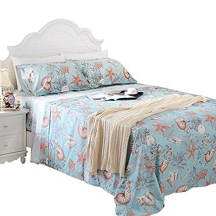 Exceptional Brandream Queen Size Nautical Bedding Sheets Set Coastal Beach Themed 100%  Egyptian Cotton Bed Sheet