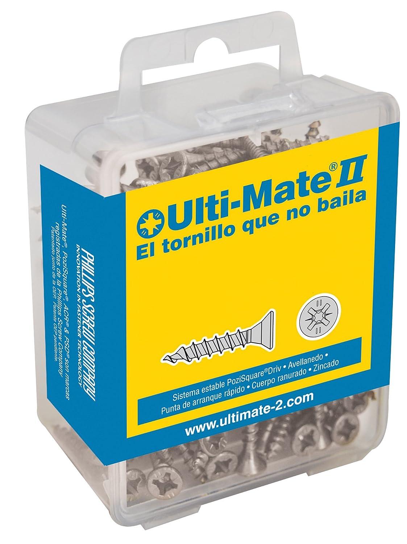 Ulti-Mate II B40040L Caja Grande con Tornillos de Alto Rendimiento para Madera Acabado ZINCADO de 4,0 x 40 mm, Set de 100 Piezas Phillips Screw Company