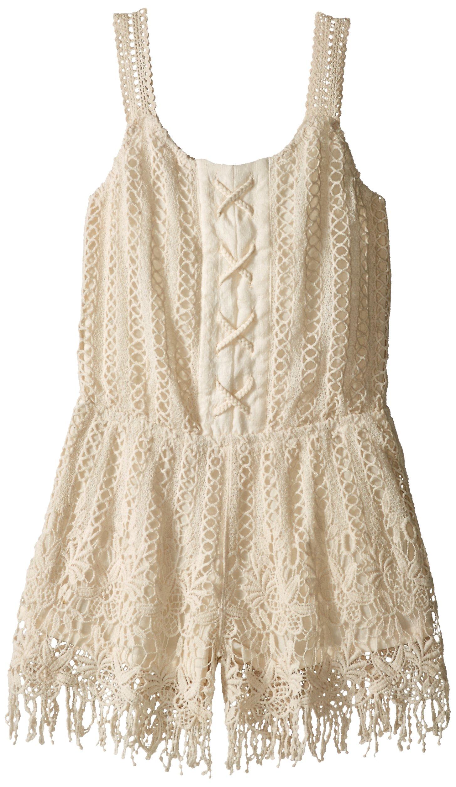 Miss Me Little Girls Sleeveless Crochet Romper, Natural, Large