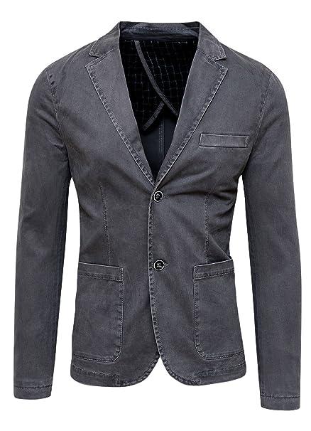 AK collezioni Blazer Giacca Uomo Grigio Scuro Slim Fit Elegante Formale Casual