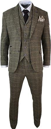 Traje de 3 Piezas para Caballero Textura de Espiga Gris Azul Oscuro Ajustado Vintage - Gris, 46UK/US & 56EU-Jacket, 40-Pants