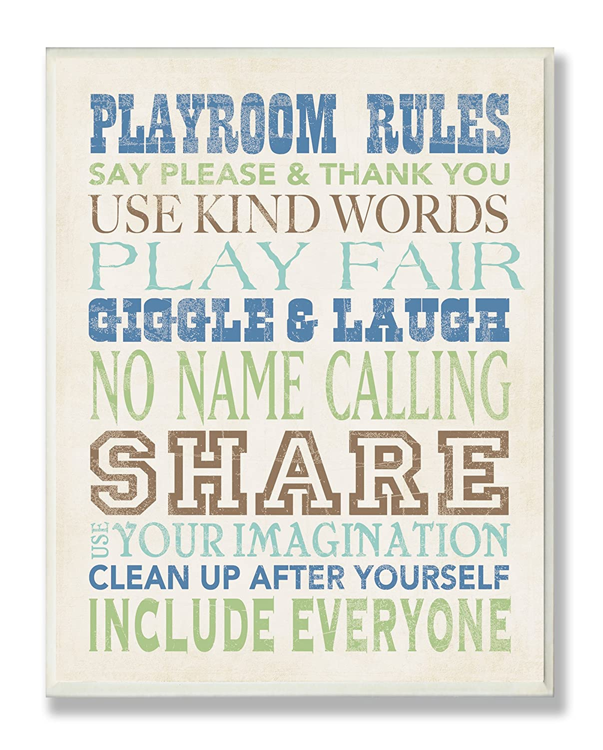 The Kids Room by Stupell Playroom Rules Typography in Blues, Green and Brown Rectangle Wall Plaque Stupell Industries brp-1408