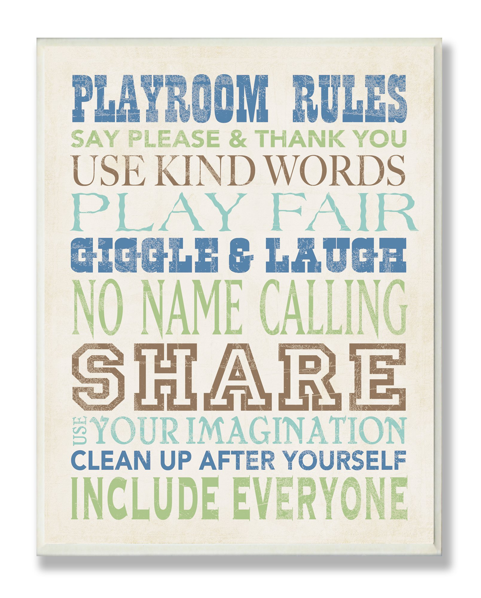 The Kids Room by Stupell Playroom Rules Typography In Blues, Green And Brown Rectangle Wall Plaque, 11 x 0.5 x 15, Proudly Made in USA