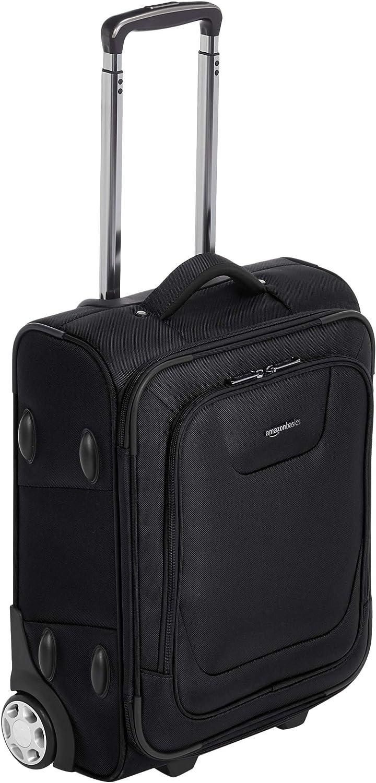AmazonBasics – Maleta blanda expansible apta para cabina de pasajeros con candado TSA y ruedas, 48 cm, negro