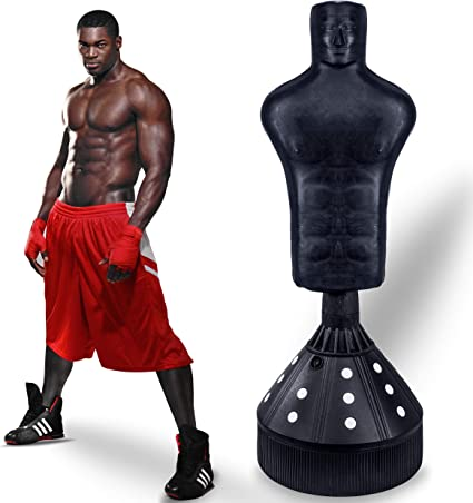 Free Boxing Gloves Lions 6ft Free Standing Punch Bag Boxing Stand Martial Arts Fitness Kick Punching Training BoB Man Torso Dummy