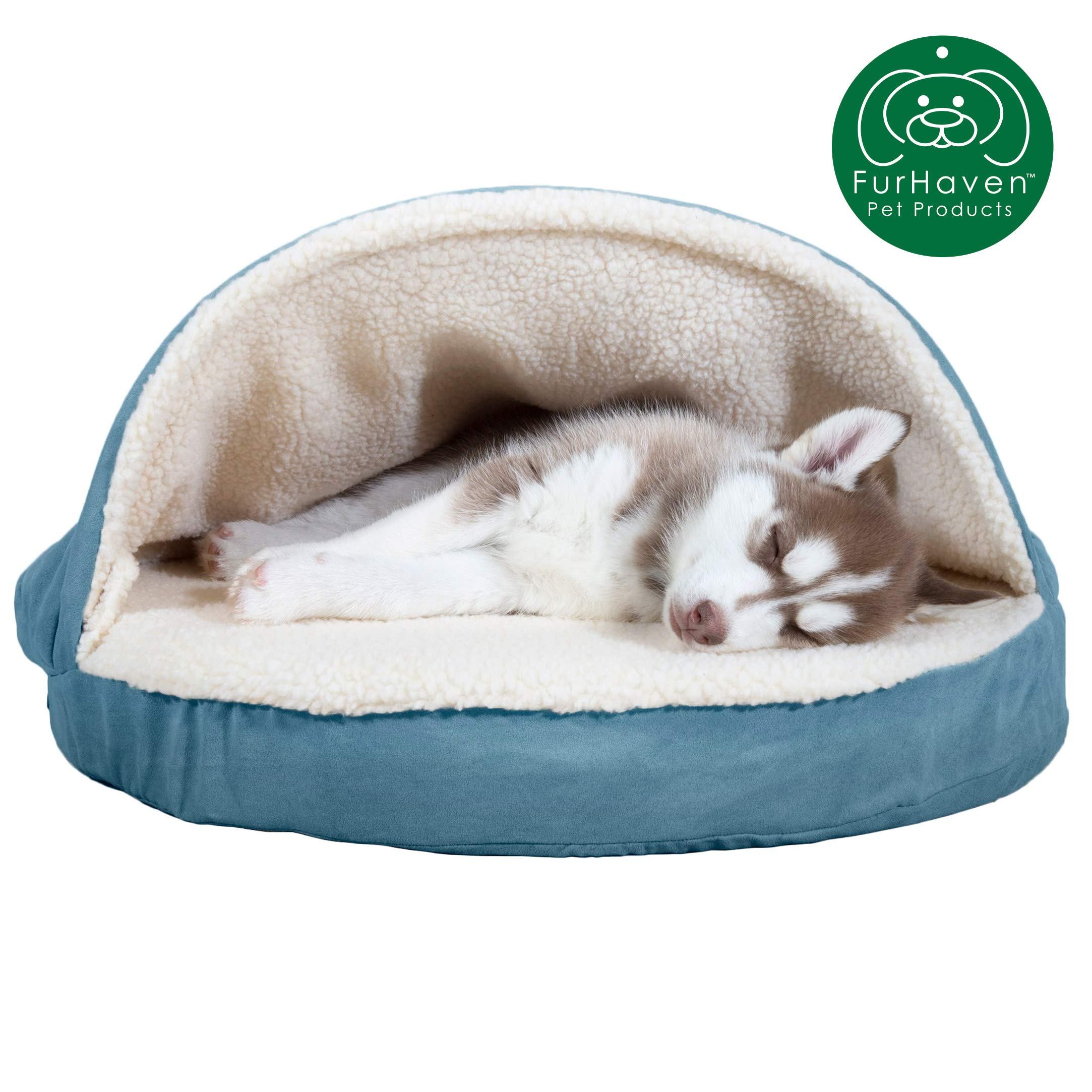 Furhaven Pet Dog Bed | Orthopedic Round Cuddle Nest Faux Sheepskin Snuggery Blanket Burrow Pet Bed w/ Removable Cover for Dogs & Cats, Blue, 26-Inch by Furhaven