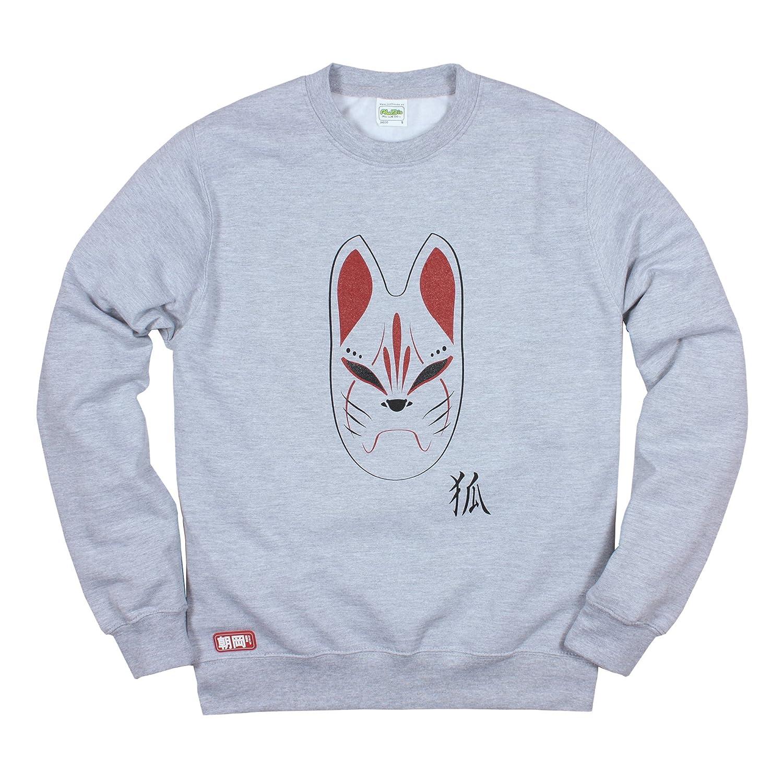 Japanese Sweatshirt - Kitsune Fox Mask Shirt - Japan Anime Manga Printed Jumper