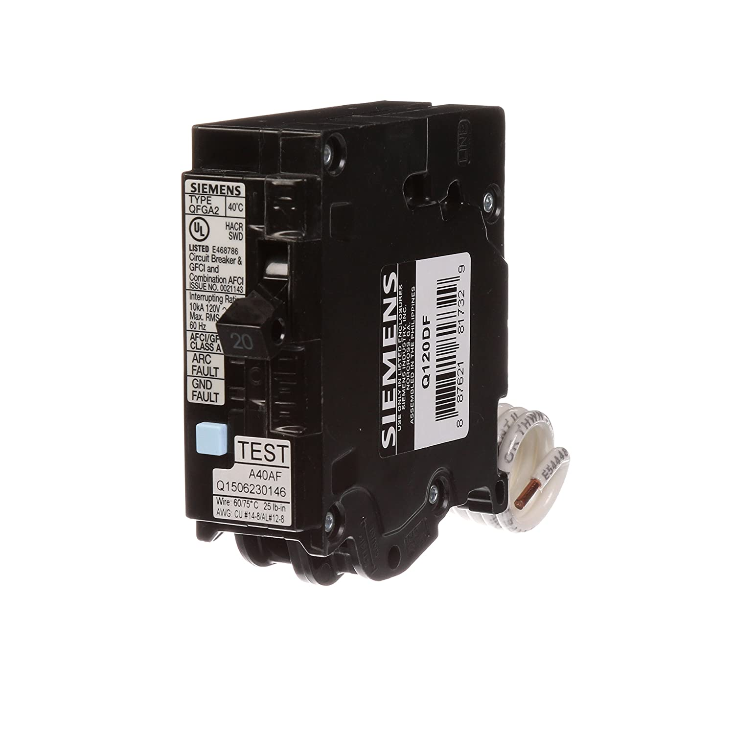 Siemens Q120df 20 Amp Afci Gfci Dual Function Circuit Breaker Plug Breakers Load Centers Fuses Miniature On Center Style