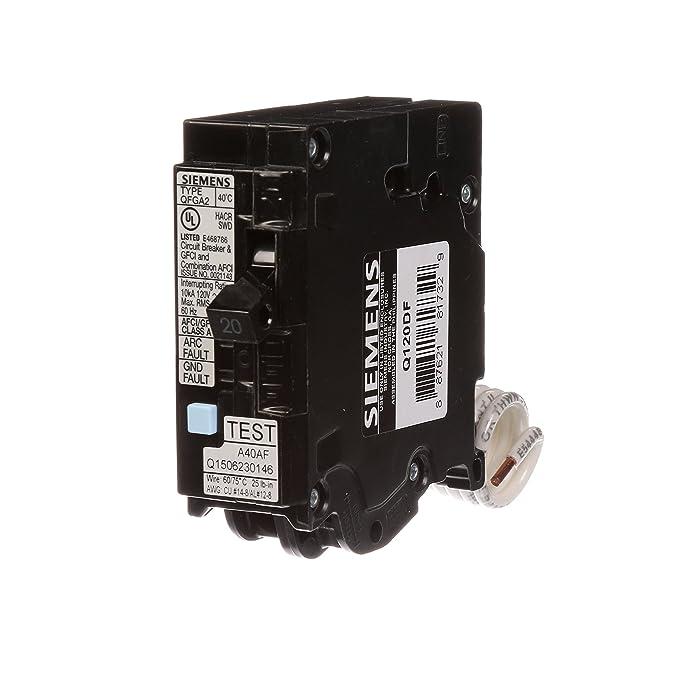 Siemens Q120DF20-Amp Afci/Gfci Dual Function Circuit Breaker, Plug on Load Center Style