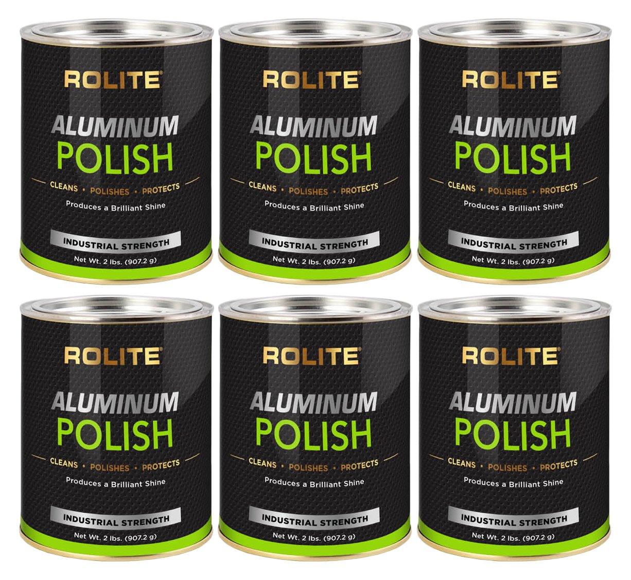 Rolite Aluminum Polish (2lb) for All Aluminum & Bare Metal Surfaces, Canoes, Jon Boats, Pontoons, Diamond Plate, Aluminum Non-Coated Wheels 6 Pack