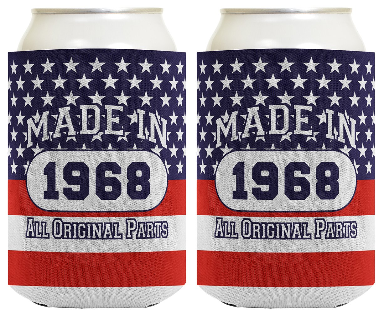 50th Birthday Gift Coolie Made 1968 Can Coolies 2 Pack Can Coolie Drink Coolers Coolies Patriotic by ThisWear (Image #1)