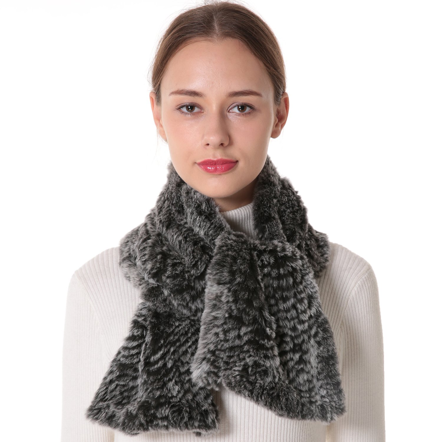 Nice Glory Women's Rex Rabbit Fur Knit Long Scarf Grey Snow-top.