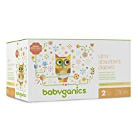Babyganics Ultra Absorbent Diapers, Size 2, 216 Count