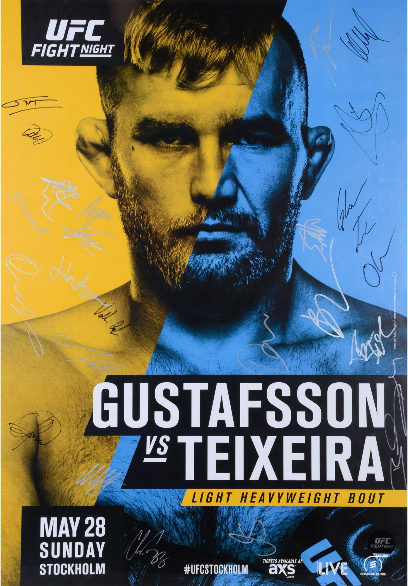 "UFC Fight Night 109 Gustafsson vs. Teixeira Autographed 27"" x 39"" 24 Signature Fight Poster Fanatics Authentic Certified"