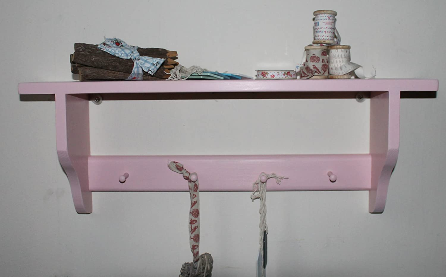 Shakers shelf with 4 Shakers pegs pink shabby chic finish Goodwood Originals