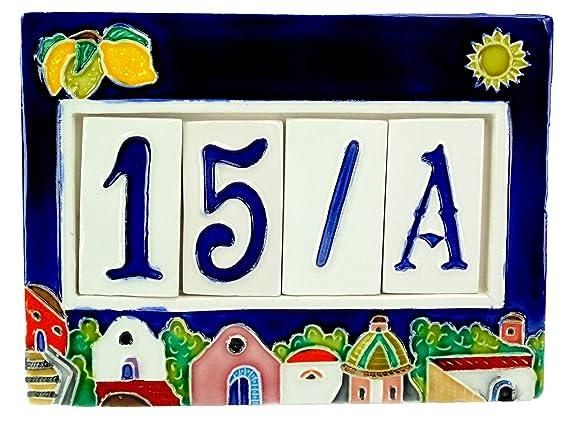Numeri civici in ceramica con cornice numeri civici mattonella a 4