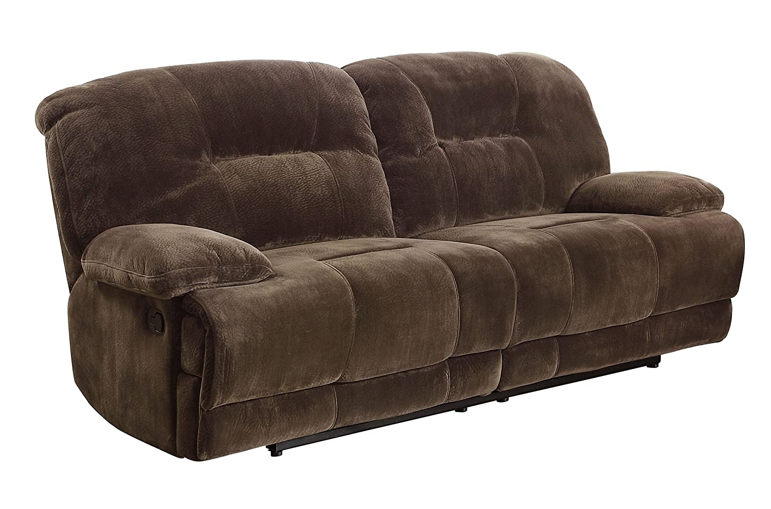 Pleasing Homelegance Double Reclining 2 Seater Sofa Dark Brown Textured With Plush Microfiber Onthecornerstone Fun Painted Chair Ideas Images Onthecornerstoneorg