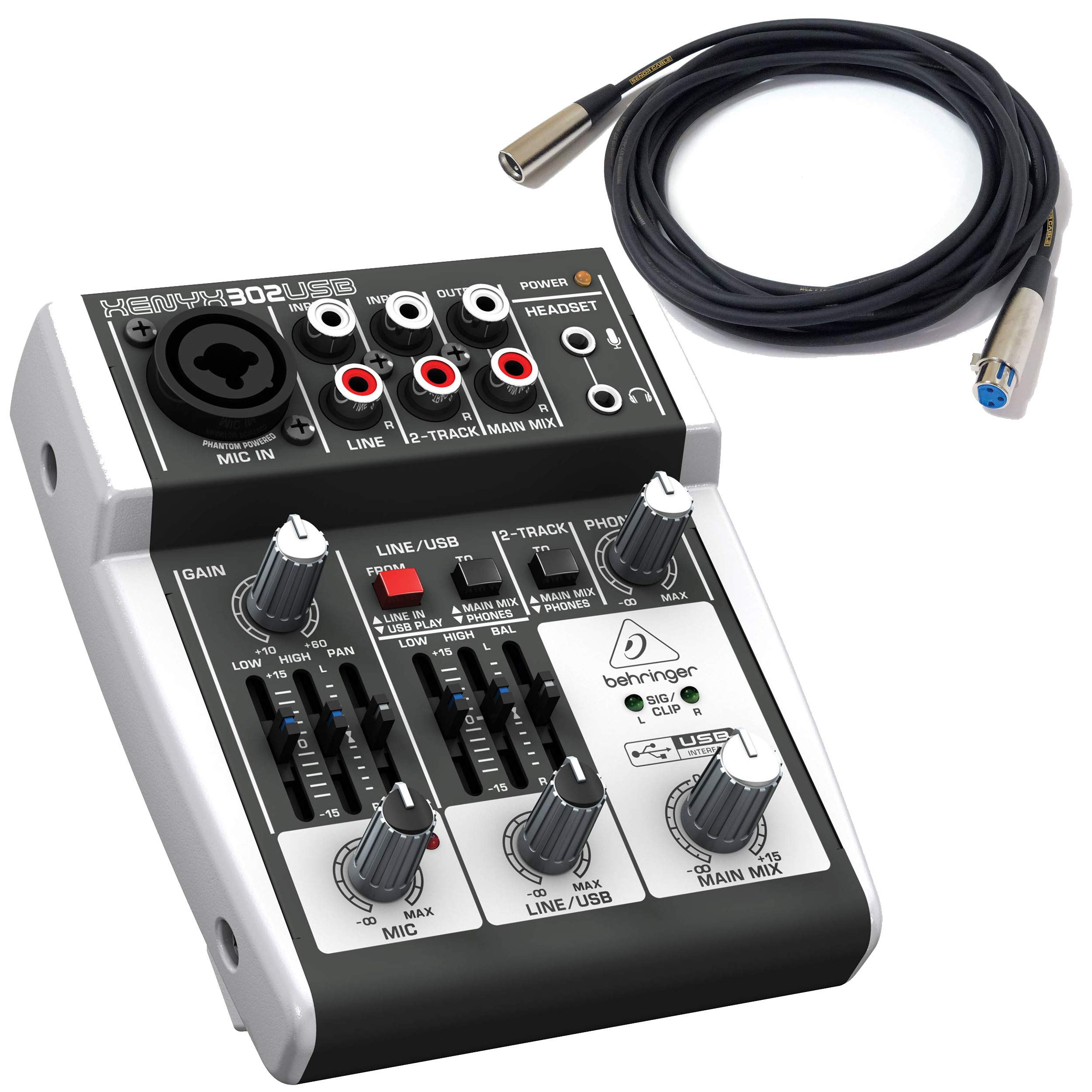 Behringer Xenyx 302USB Mixer 3 Channel with USB Xenyx Mic Preamp, One Stereo Channel, 2-band EQ and USB I/O BUNDLE with Senor 20' XLR Microphone Cable