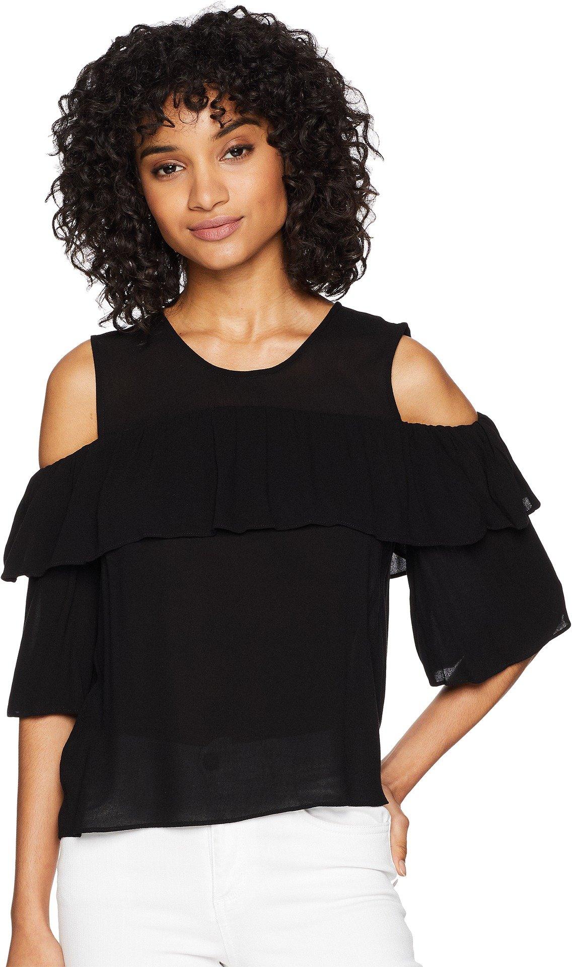 BCBGMAXAZRIA Women's Cold Shoulder Ruffle Top Black Medium