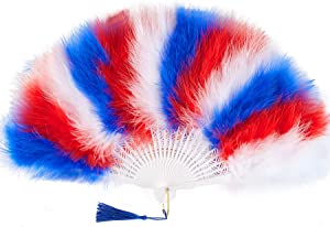 BABEYOND Roaring 20s Vintage Style Folding Handheld Flapper Marabou Feather Hand Fan for Costume Halloween Dancing Party Tea Party Variety Show (X-White Blue Red)