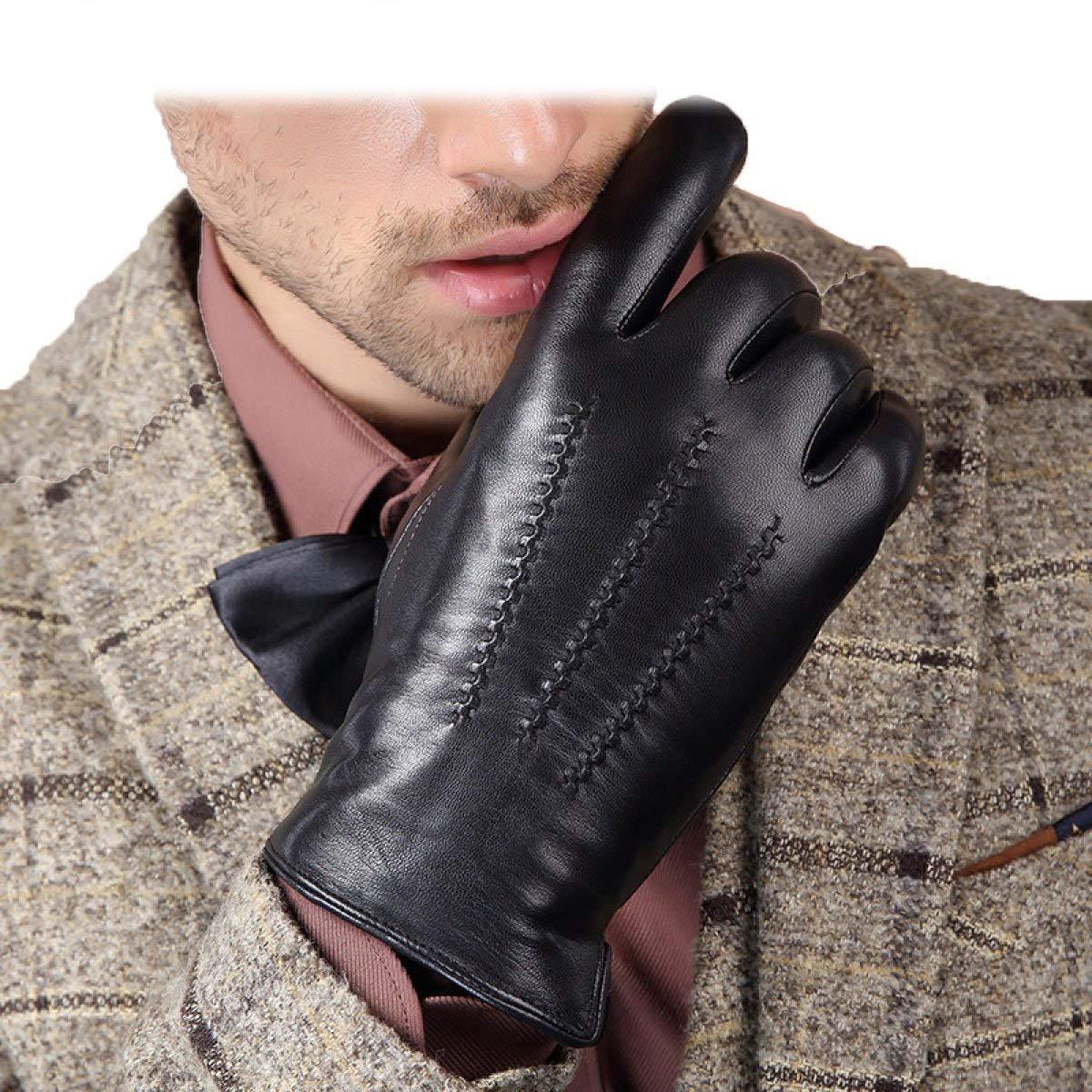 CWJ Warm Full Palm Touch Screen String Flower Craft Men's Gloves,Black,Large